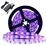 Super Bright 60 Watts UV Black Light LED Strip, 16.4FT/5M 3528 300LEDs 395nm-405nm Non-Waterproof Blacklight with 12V 5A Power Supply, for Night Fishing, Black Party