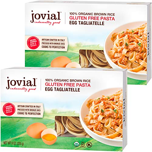 Jovial Egg Tagliatelle Gluten-Free Pasta | Whole Grain Brown Rice Egg Tagliatelle Pasta | Lower Carb | Kosher | USDA Certified Organic | Made in Italy | 9 oz (2 Pack)