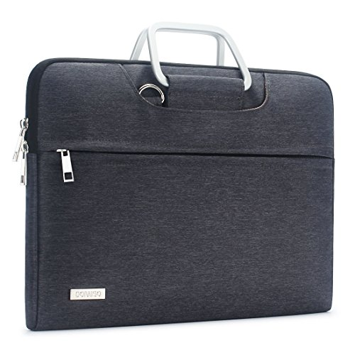 DOMISO Laptop Sleeve Case Messenger Shoulder Bag Shockproof Waterproof Briefcase for 13-13.3 Inch Laptops/APPLE MacBook Air & Pro / 13.3' Lenovo Yoga 720/13.3' ASUS with Handle,Dark Grey