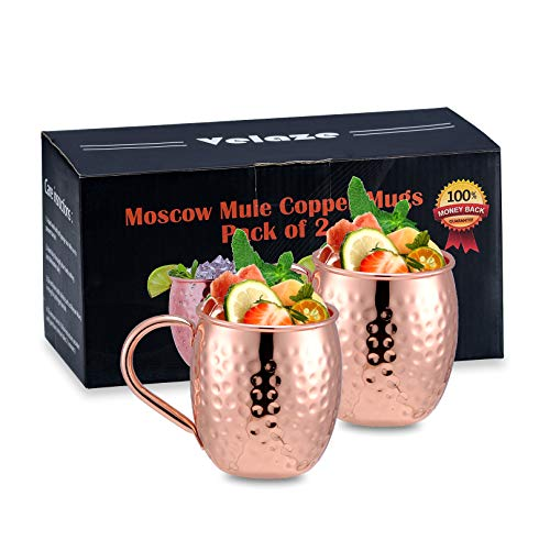 Velaze Taza Cobre de Moscow Mule, Juego 2 Tazas con Asas Latón, Copa Cobre Premium 600 ml, Puro Sólido Hecho a Mano, 100% Seguro para Alimentos Cerveza de Jengibre, Cóctel, Whisky y Vino - Oro Rosa
