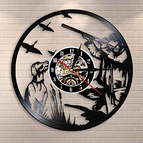 LIMN Pintail Pato Caza Pared Arte Hombre Cueva decoración Reloj de Pared Hombre Cazadores Pistola y Perro Pato Caza Vinilo Registro Reloj de Pared Regalo de Cazador