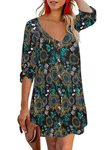 AlvaQ Womens Fashion Casual Summer Ladies Boho Flower Print Button Down V Neck A Line Swing Skater Mini Dresses Plus Size Black 1X