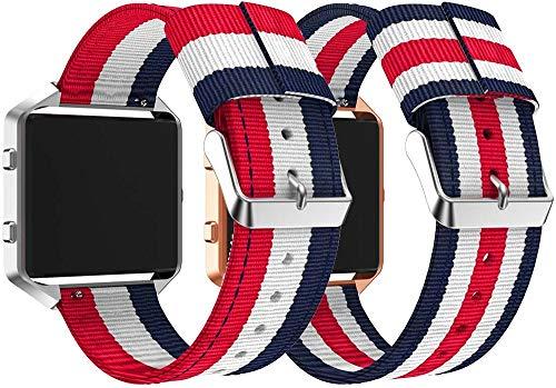 Gransho Compatible con Fitbit Blaze Correa de Reloj, Pulsera Deportivo de Reloj de Nylon, con Cierre de Clip, Respirable y Reemplazable (Pattern 1+Pattern 2)