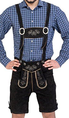 Almwerk Herren Trachten Lederhose kurz Modell Sepp in schwarz, braun und Hellbraun, Farbe:Schwarz;Größe Herren:52