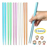 XGiGiX Reusable Fiberglass Chopsticks, 5-Pairs Hexagonal Non-slip Lightweight Multicolor Chopsticks...