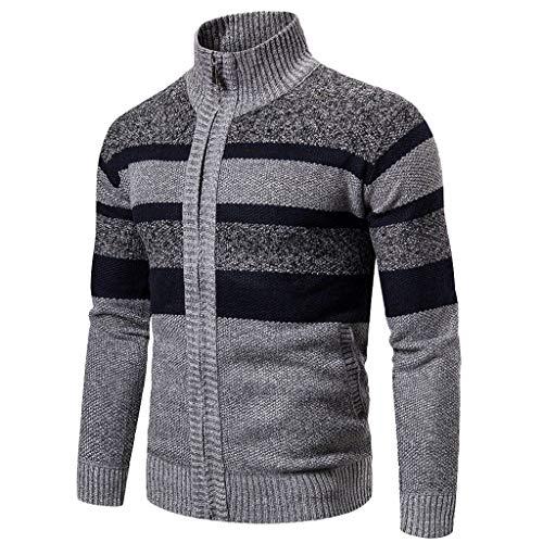 Strickjacke Herren Reißverschluss Winter Rollkragen Pullover Langarm Strickpullover Top Outwear Gestrickt Mantel Warm Outdoor