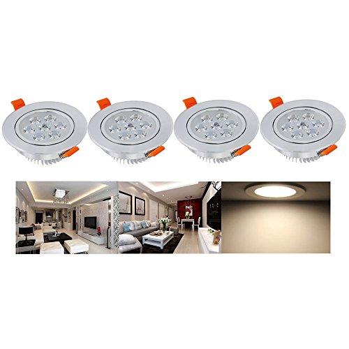Hengda® 4 Set 7W Led Einbauleuchte Warmweiß AC 230V,Einbaustrahler Sparlampe für Küche bad Flur Wohnzimmer