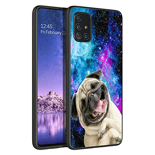 YOYOYX for Samsung Galaxy A51 5G Case, Cute Pug Dog Pattern for Girls Men Boy Womens Shockproof Anti-Scratch Drop Protection Case Cover with Tempered Glass Screen Protector, Galaxy Funny Pug