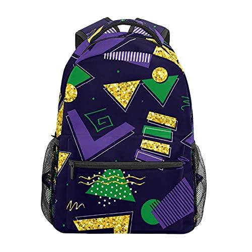 Viola Verde Oro Cerchio Triangolo Daypack Zaino Scuola College Viaggi Escursioni Moda Laptop Zaino per Donne Uomini Teen Casual Borse di Tela
