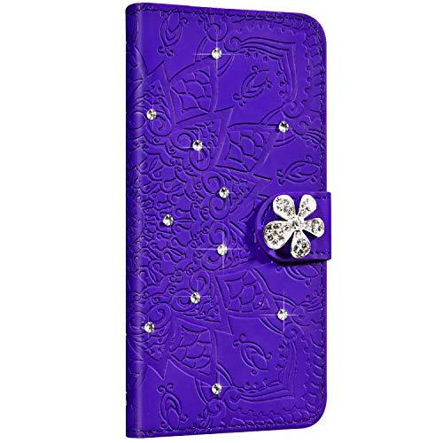 Saceebe Compatible avec iPhone 11 Pro Coque Brillant Paillette Glitter Fleur Mandala Motif Portefeuille Cuir Etui Housse Flip Case Cover Wallet Coque Porte-Cartes Support Stand,Violet
