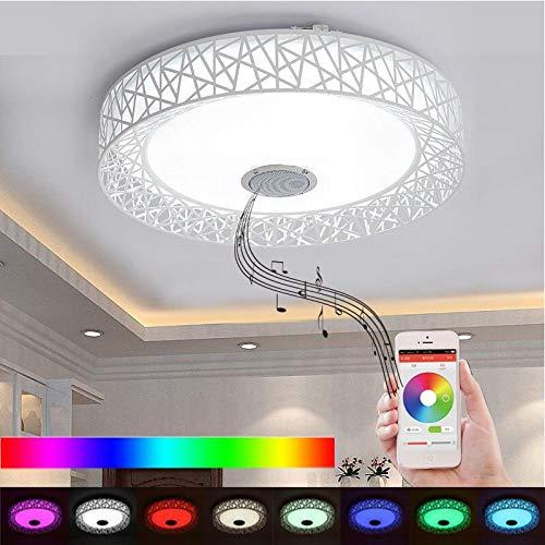 APP Led-deckenleuchte Mit Bluetooth lautsprecher 36W Musik Party Lampe Deco Schlafzimmer Musik Beleuchtung Leuchte Mit Fernbedienung (White Lampshade)