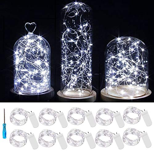 Led Fairy Lights Battery Operated Micro LED Mini Waterproof Fairy String Lights Silver Wire String Lights Xmas Lights with Screwdriver for Centerpiece Wedding Party Décor (Cool White, 10-Pack)
