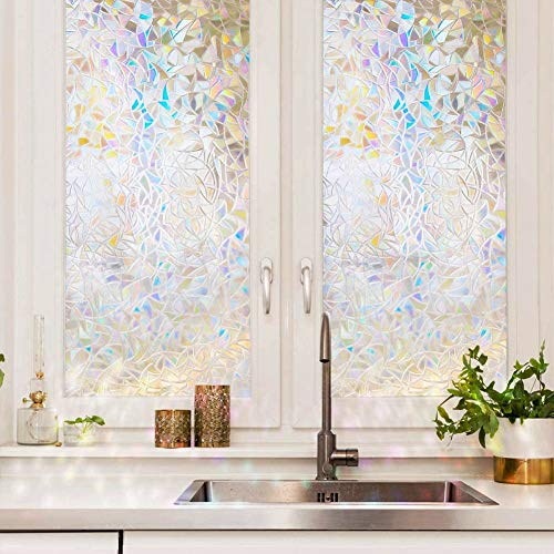 "3D Rainbow Decorative Kids and Baby Window Film Non-Adhesive Static Cling No Glue Window Film Glass Window Cling Anti UV Removable Static Cling for Home Kitchen Rental Room and Office 17.7"" x 78.7"""