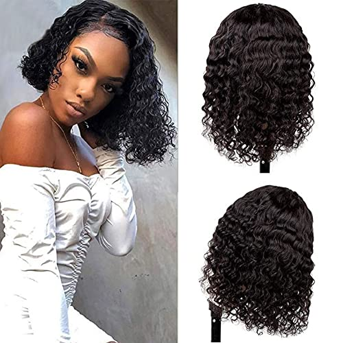 EXCEED Short Bob Lace Front Wig Human Hair with Baby Hair Unprocessed Brazilian Virgin Human Hair 9A Deep Wave Glueless Lace Wigs for Women Pre Plucked Bleached Knots Natural Black (10 Inch)