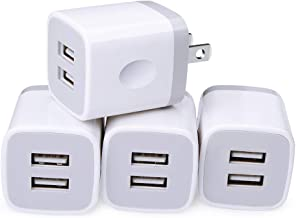USB Wall Charger, Cube Charger 2 Port Charging Box 4Pack 2.1A/5V UL Certified Home Travel Charger Plug USB Power Adapter Charging Station Base for iPhone X 8 7 6 6S Plus 5S 5 SE 4S, iPad, iPod Samsung