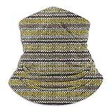 brandless Face Mask Knitted Pattern Set 11 - Stripes YellowGrey Ski Mask Hat Neck Gaiter Headwear For Women Men