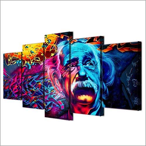 NVSHENY-LOVED Wanddekor Leinwand Malerei Moderne Leinwand Bilder Wandkunst Rahmen Home Decor HD gedruckt 5 Stück Abstrakt Einstein Gemälde Psychedelic Color Poster