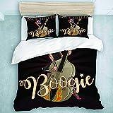 SUHOM Bedding Juego de Funda de Edredón,Personaje Rockabilly Boogie Vintage de Pinup Rock Girl Playing on Contrabass Pin,Microfibra (Cama 140x200 + Almohada 50X80),Single