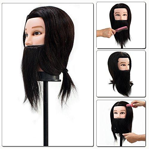 Neverland Tête à Coiffer Professionnelle Mannequin Homme Poupée Tête d'exercice Coiffure avec Barbe - 100% Cheveux Humains Pour Étude Professionnel dans la Cosmétologie Noir #2