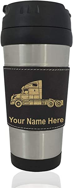 Travel Mug Truck Cab Personalized Engraving Included Black