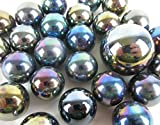 Big Game Toys~25 Glass Marbles 25 Glass Marbles Shooting Star Metallic Iridescent Silver/Gold/Purple Classic Style Game Pack (24 Player, 1 Shooter) Decor/Vase Filler/Aquarium
