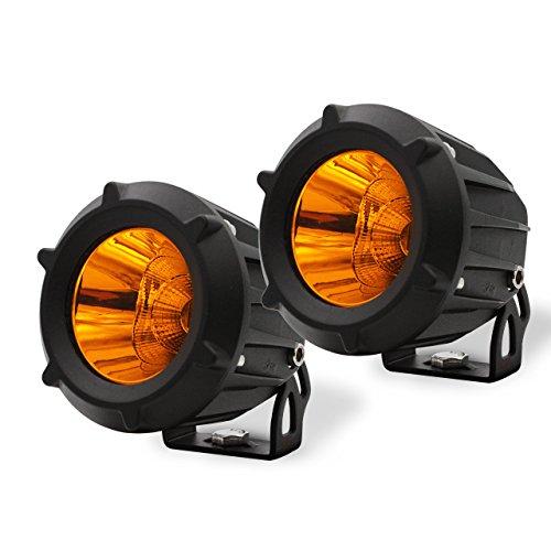 AutoTime 2 Pack 25W LED Work Light Flood Spot Combo Beam 3000K Yellow Amber Led Pods Light Small Offroad Driving Fog Light for Motorcycle SUV Truck Wrangler Boat Tractor