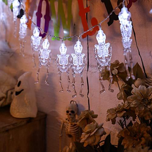 Gshy LED-Lichterkette, Außen, Halloween, dekorative Halloween, Knochen-Form, transparent, Totenkopf, Lichterkette, 2 m, 20 Lichter weiß