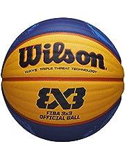Wilson Unisex Adult Basketball FIBA 3X3 OFFICIAL GAME BALL 2020 WT, rozmiar: 6, skóra mieszana, do użytku wewnątrz i na zewnątrz, żółta/niebieska, WTB0533XB20, 6