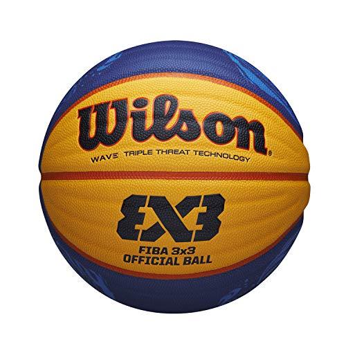 Wilson Unisex-Adult Basketball FIBA 3X3 Official Game Ball 2020 WT, Größe: 6, Mischleder, Für den Innen-und Außenbereich, Gelb/Blau, WTB0533XB2020, 6