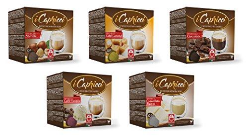 Caffè Bonini Trinkschokolade-Mix 50 Kapseln (Nespresso kompatibel) - 5 verschiedene Sorten (u.a. Schokolade, Haselnuss)