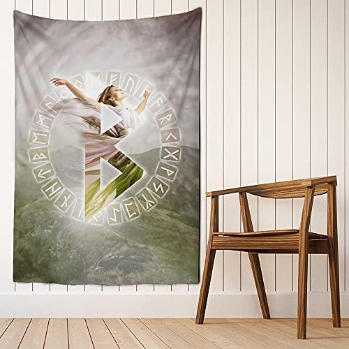 Rune vichinghe arte arazzo appeso a parete spiaggia magica stuoia bohémien hippie soggiorno sfondo panno appeso coperta di stoffa A5 180X230 cm