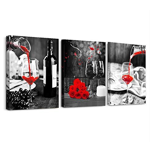 Kitchen Wall Art for dining room Wall Decor Still life Black and white Canvas Prints Artwork Wine barrel bar Red rose painting modern family wall decorations restaurant bedroom Decor 3 piece set
