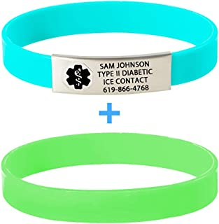 Divoti Custom Engraved Medical Alert Bracelets for Women/Men, Silicone Medical Bracelet, Medical ID Sport w/Free Engraving & Color Options - Black Caduceus