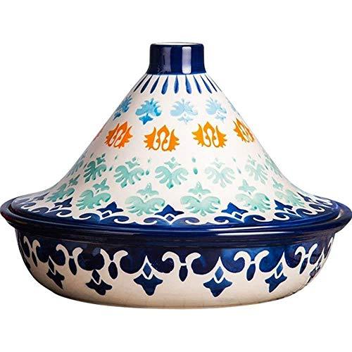 YIBOKANG Casseroles Casserole Piatto con coperchio Casseruola Stoccata Pentola spessa per casseruola in ceramica con base in ghisa e coperchio di imbuto in gres