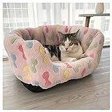RTYUIIO Haustierbett Hundebett Katzenbett Rundes Plüsch Hundesofa Katzensofa Kissen in für Katzen und kleine bis mittelgroße Hunde,Rosa,50 * 40CM