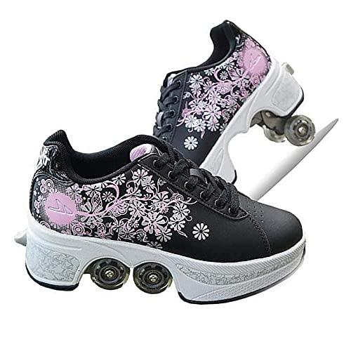 Zapatos De 4 Ruedas, Zapatos De Patines con Rodillos, Zapatos De Ruedas Retráctiles, Zapatillas De Moda para Niñas, Niños, Principiantes, Regalo Unisex