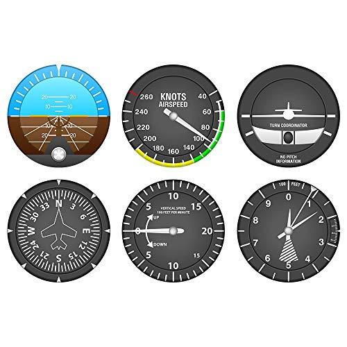 OGUAN Conjunto de 6 Posavasos de Instrumentos de Aviones Instrumentos de Vuelo Modernos Cóctel Conjunto de montañas Navigator Home Bar Decor Aviator Pilot Regalo