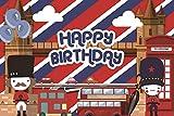 Baocicco 9x6ft Cartoon Happy Birthday Backdrop Cartoon London Bridge Backdrop London Bus Balloon London Backdrop for Photography Background British Policeman Backdrop Booth Photo Shooting Props