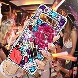 Mavis's Diary Samsung Galaxy S10 Plus Case 3D Handmade Bling Crystal Hot Pink Flower Sexy Lips Lipstick Colorful Shiny Glitter Sparkly Diamond Rhinestone Sliver Rivet Hard PC Cover