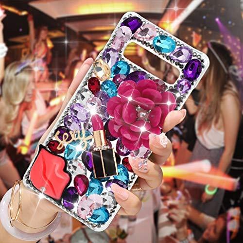 Galaxy S10 Plus Case, Mavis's Diary 3D Handmade Bling Crystal Colorful Shiny Glitter Gem Fashion Design Sparkly Diamond Rhinestone Cute Hard PC Cover for Galaxy S10+ Plus (Sexy Lips)