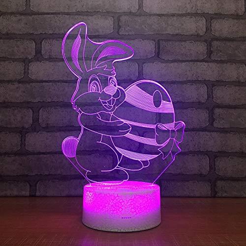 Luz de Noche Conejo Ilusión óptica Lámpara 3D 7 Colores Cambio de Control táctil Luz de Mesa LED Lámpara para Dormir Decoración del hogar Cumpleaños/Navidad/Regalos de Fiesta para niños