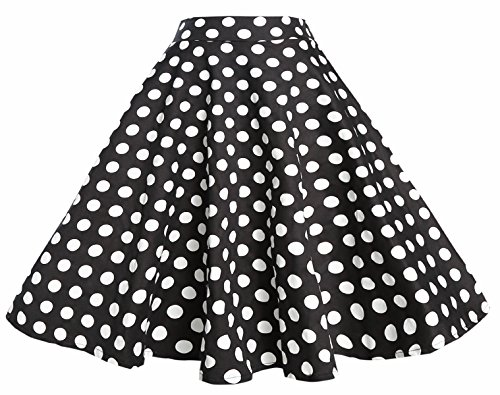 BI.TENCON 1950s Black White Polka Dot High Waist Circle Swing Vintage Skirt M
