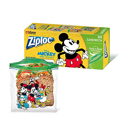 Ziploc Sandwich Bags, Easy Open Tabs, 66 Count, Featuring Mickey or Frozen Designs
