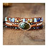 XYBB Femmes Charme Bracelets Colorful Stones Labradorite 3 Couches Vegan Wrap Bracelets Multicouches Bracelet