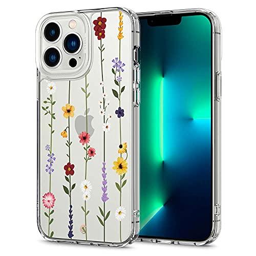 CYRILL Cecile kompatibel mit iPhone 13 Pro Max Hülle, (6,7 Zoll) (2021) Langlebig innere Klar Muster Transparent weich TPU Bumper Durchsichtige Hülle - Blumen Garten