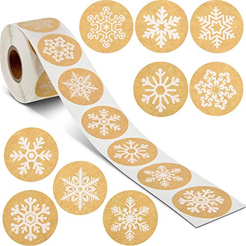 Snowflake Label Stickers Happy New Year Stickers Thank You Seal Stickers Valentine's Day Stickers Inspirational Quote Stickers (White Snowflakes, 500 Pieces)