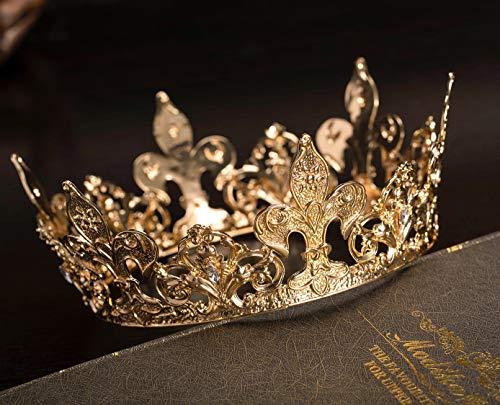 SWEETV Corona de reina de oro real para mujer, corona de desfile...