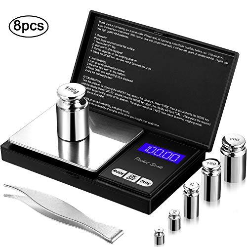 8 Pieces Digital Pocket Scale Set, 100 g 0.01 g Mini Scale...