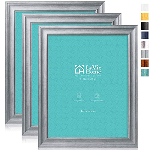 LaVie Home 11x14 Picture Frames (3 Pack, Light Gray Wood Grain) Rustic Photo Frame Set with High Definition Glass for Wall Mount Display