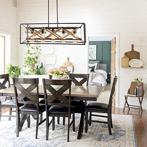 Alice House 31.5' Dining Room Chandelier, 5 Light Kitchen Pendant Lighting, Farmhouse Island Lighting, Pool Table Light, Brown Finish AL8061-P5